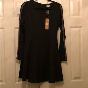 Love Riche skater dress with beaded long sleeves